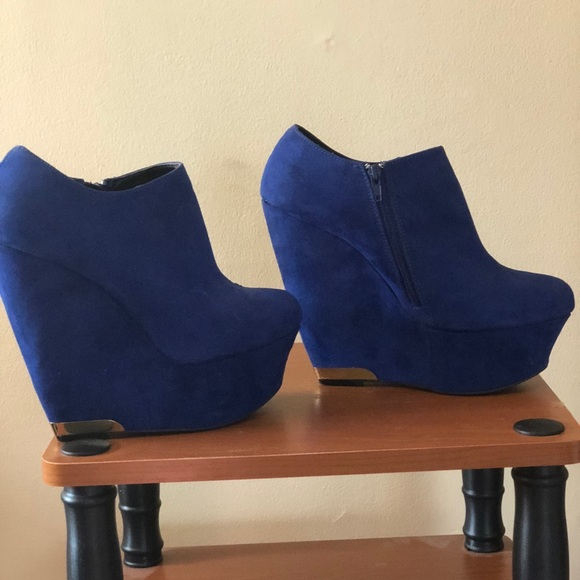 Royal Blue Wedge Ankle Booties | Poshmark